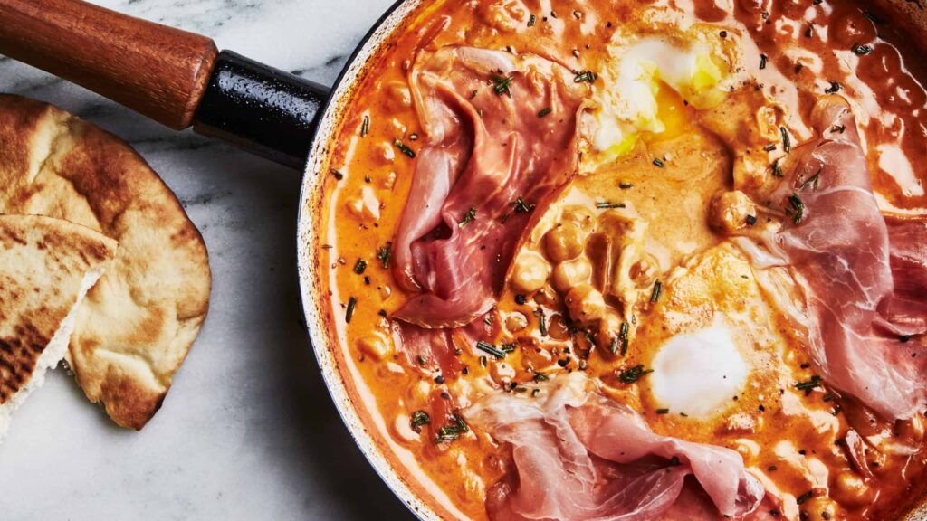 spicy-creamy-chickpeas-with-runny-eggs-and-prosciutto